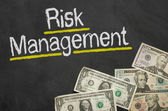 Text on blackboard with money - Risk Management — Foto de Stock