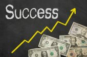 Text on blackboard with money - Success — Foto de Stock