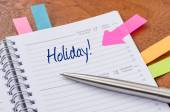 Daily planner with the entry Holiday — Foto de Stock