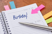 Daily planner with the entry Birthday — Foto de Stock