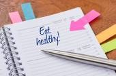 Daily planner with the entry Eat healthy — Foto de Stock