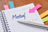 Daily planner with the entry Meeting — Foto de Stock