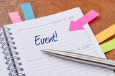 Daily planner with the entry Event — Foto de Stock