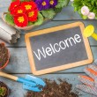Blackboard on a plant table with garden tools - Welcome — Stock Photo #68175001