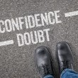Decision at a crossroad - Confidence or Doubt — Stock Photo #69617077