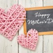 Blackboard with pink hearts - Happy Mothers Day — Stock Photo #70148963