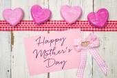 Pink card with the inscription Happy Mothers Day — Stockfoto