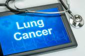 Tablet with the diagnosis Lung cancer on the display — Stock Photo