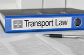 Blue folder with the label Transport Law — Stock Photo