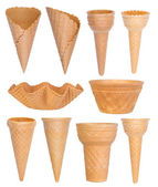Ice cream cones collection isolated on white background — Stock Photo