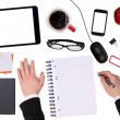 Office desktop with various objects and a businessman working — Foto de Stock   #68033047