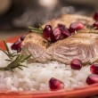 Grilled turkey with rice and pomegranate — Stock Photo #62009983
