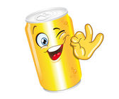 Drink can cartoon character — Stock Vector