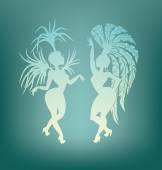 Samba queen dancing silhouette — Stock Vector