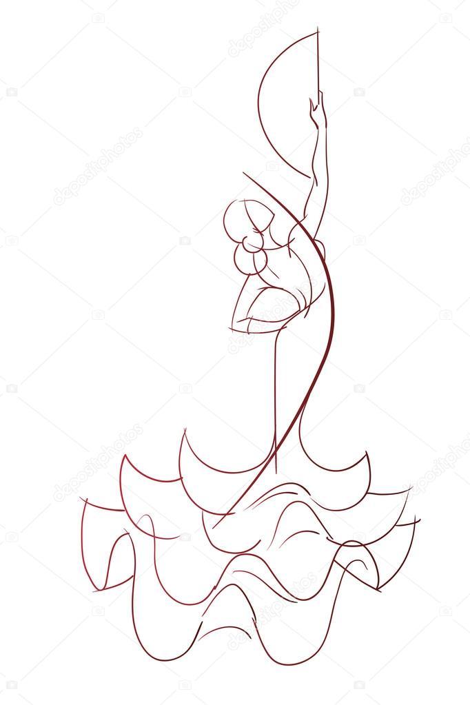 Geste dessin pose expressive de la danseuse flamenco - Danseuse flamenco dessin ...