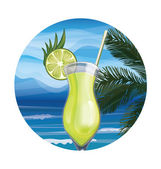Tropic exotic cocktail — Stock Vector