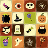 Patchwork background with Halloween elements — Stock Vector