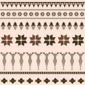 Brown winter ornamental pattern with deer — Stock Vector