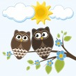 Two owls — Stock Vector #67418179