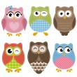 Colorful owls set — Stock Vector #67418957