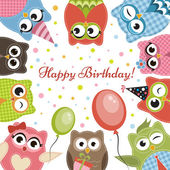 Birdhday card with cute owls — Stock Vector