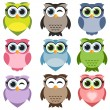 Cute owls set — Stock Vector #70637091