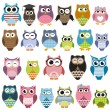 Set of cartoon owls with various emotions — Stock Vector #70637283