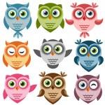 Set of cute cartoon owls — Stock Vector #72689717