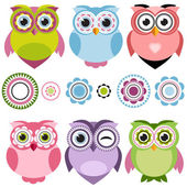 Cute cartoon owls set — Stock Vector