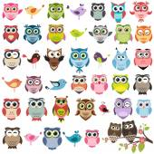 Cute owls set — Stock Vector