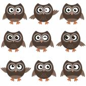 Cute owls with various emotions — Stock Vector