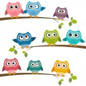 Set of colorful cartoon owls on branches — ストックベクタ