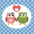 Two cute owls in love — Stockvector  #73421161