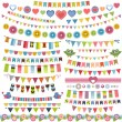 Cute bunting and garland set — Stock Vector #74038861