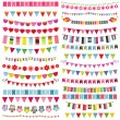 Colorful flags, bunting and garland set — Stock Vector #75833925