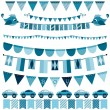 Blue flags, bunting and garland set for boys — Stock Vector #75832951