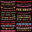 Colorful flags, bunting and garland set on dark background — Διανυσματικό Αρχείο #75833599