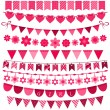 Pink bunting and garland set for girls — Stock Vector #75833687