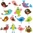 Set of cute birds — Stock Vector #75833715