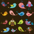 Set of cute colorful birds — Stock Vector #75833997