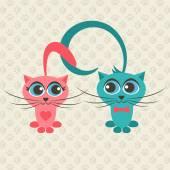 Dwa koty w miłości — Wektor stockowy