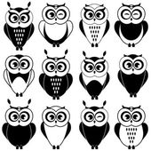 Set of black and white owls — Stock Vector