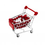Shopping cart with red beads — Stock Photo