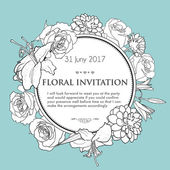 Foral background for wedding, birthday, invitation. Vector hand — Stock Vector