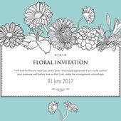 Floral horizontal invitation card. Vector illustration of bloomi — Stock Vector