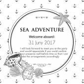 Hand drawn marine seashell. Vector illustration for travel card, — Stock Vector