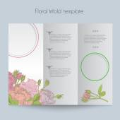 Floral roses template, tri-fold, mockup for brochure, menu, wedding, birthday card, valentins day — Stock Vector