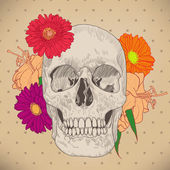 Vintage Greeting Card with Skull and Flowers on Beige Background — Stock Vector