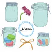 Vector set hand drawn jars. Vintage colorful illustration. — Stock Photo