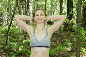 Woman doing gymnastics on the nature — Stock Photo